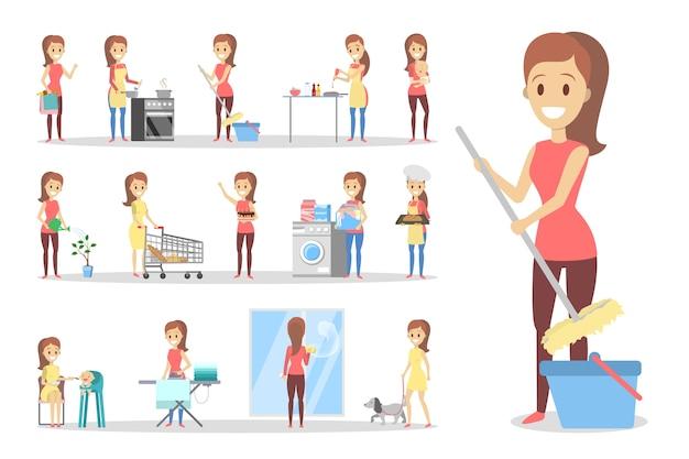 Женщина убирает дом и делает работу по дому. домохозяйка занимается повседневными домашними делами. изолированные плоские векторные иллюстрации