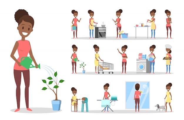 Женщина убирает дом и делает набор по дому. домохозяйка занимается повседневными домашними делами. иллюстрация