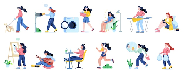 Woman clean home and doing a housework. housewife doing everyday domestic routine.    illustration