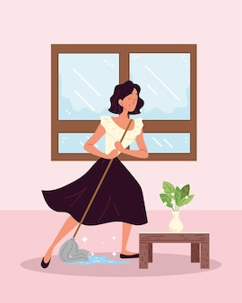 Woman cleaner mopping floor
