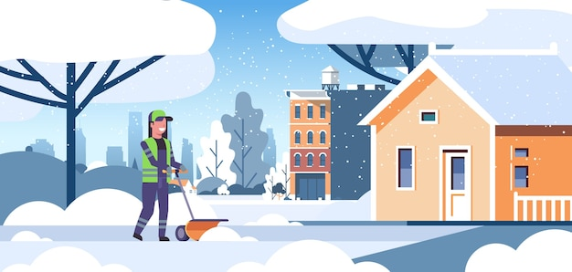 Woman cleaner in uniform using handle snowplough snow removal service concept female worker cleaning residential house area flat full length vector illustration