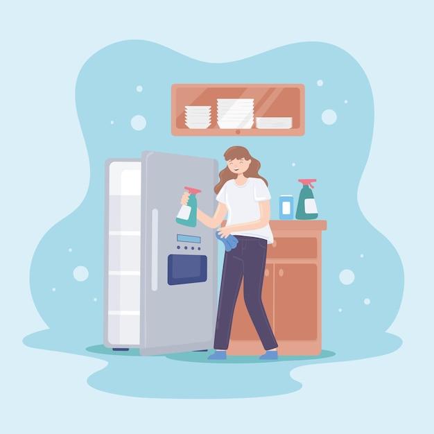 Женщина, чистящая холодильник