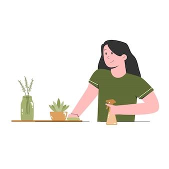 Женщина, чистящая цветочный стол