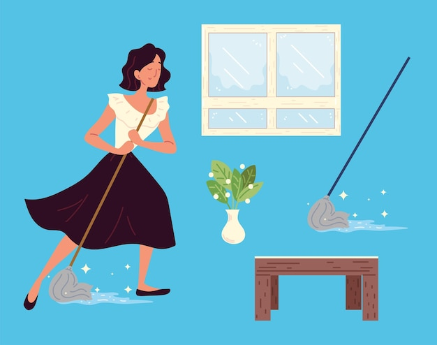 Woman cleaning set