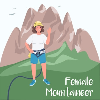 Woman climber social media post  . female mountaineer phrase. extreme sports. web banner design template.
