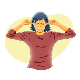 손가락으로 귀를 닫는 여자. 듣고 싶지 않음, 시끄러운 소음, 문제 개념