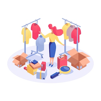 Woman in clothes boutique isometric