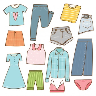 Woman clothes collection in doodle style