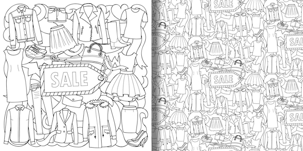 婦人服セールプリントとシームレス柄セット