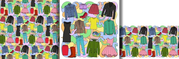 女性の服のセットとシームレスなパターンとボーダーのセット