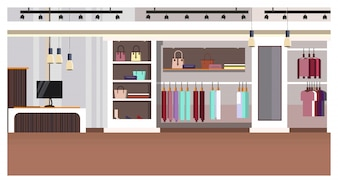 Woman clothing store interior with checkout counter, bags