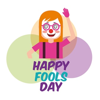 Woman clown mask celebration fools day circles background