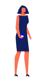Woman in cocktail dress with microphone in hand.