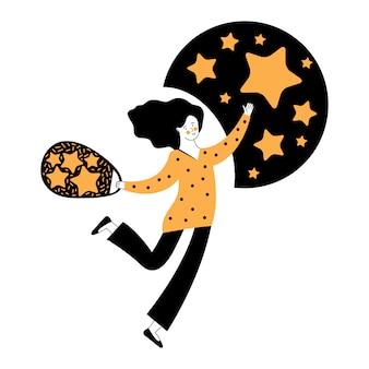 女性は空から星を集めます。幸運の星をキャッチします。成功を求めて、または夢をキャッチする星に手を伸ばす女性の漫画イラスト。顧客からのビジネスコンセプトのフィードバック。お気に入り