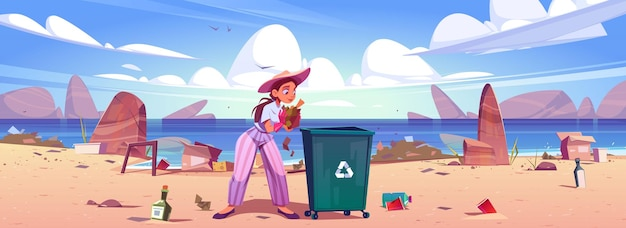 여자는 바다 해변에서 쓰레기통에 쓰레기를 수집합니다.