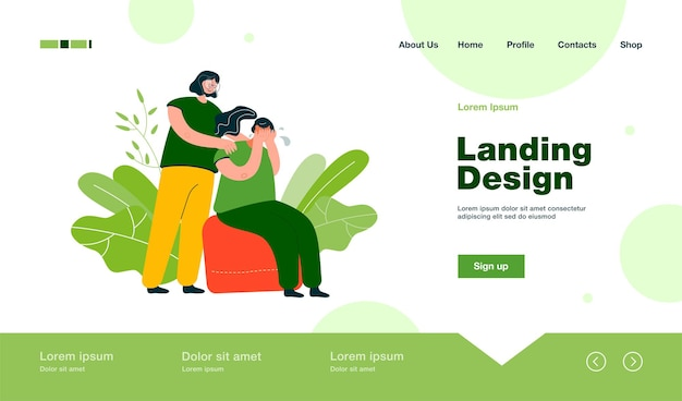Woman comforting crying friend and touching her shoulders. landing page in flat style.