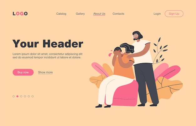 Woman comforting crying friend and touching her shoulders landing page.. girl suffering from anxiety, loneliness, trying to cope with depression or loss. for support, empathy, compassion, stress concept
