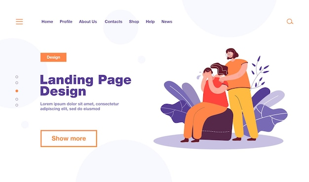 Woman comforting crying friend and touching her shoulders landing page template