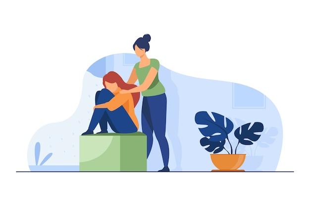 落ち込んでいる友人を慰める女性。動揺する仲間のフラットベクトルイラストをサポートします。友情、うつ病、助け