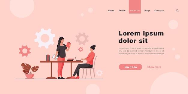 プロジェクトのアイデアを持って他の女性にやってくる女性。フラットスタイルのランディングページ