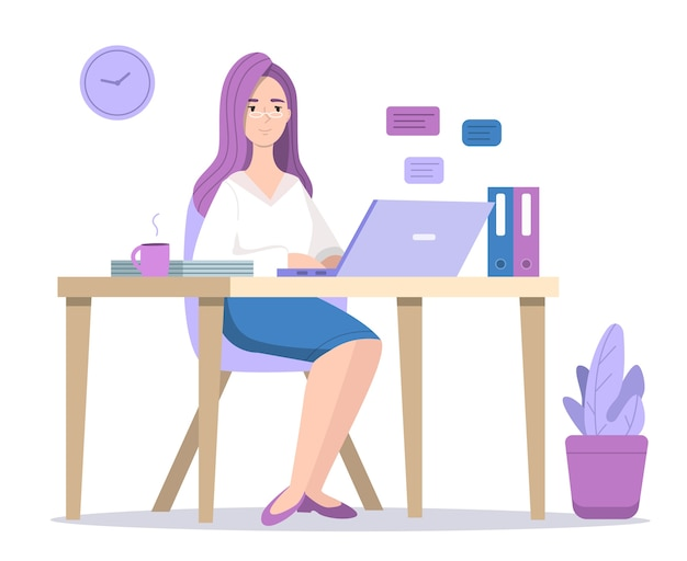 Woman at computer illustration