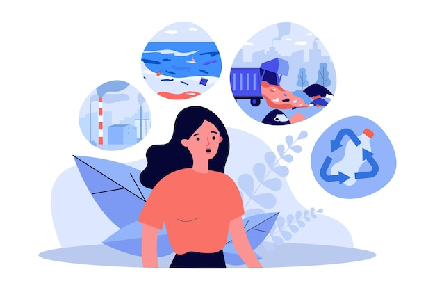Woman concerned about environmental pollution. flat vector illustration. person thinking about ocean and air pollution, recycling, waste disposal. environmental protection, consumption, nature concept