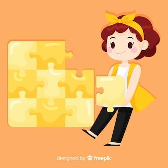 Женщина соединяет кусочки головоломки