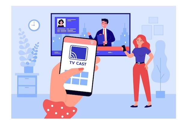 Женщина подключает смартфон к телевизору и смотрит новости. мобильное приложение для трансляции на телевизор плоских векторных иллюстраций. технологии, развлекательная концепция для баннера, веб-дизайна или целевой веб-страницы