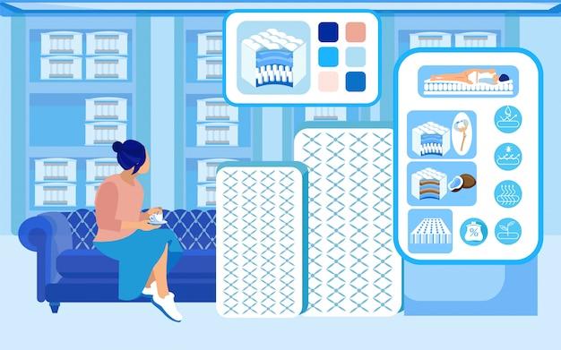 Woman, considering buying new orthopedic mattress