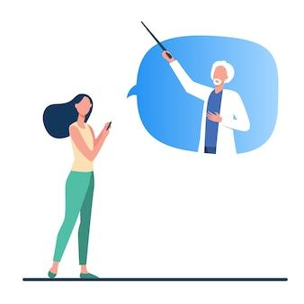 Женщина-врач-консультант онлайн. пациент с телефоном, старший врач в речи пузырь плоской векторной иллюстрации. интернет, консультация врача