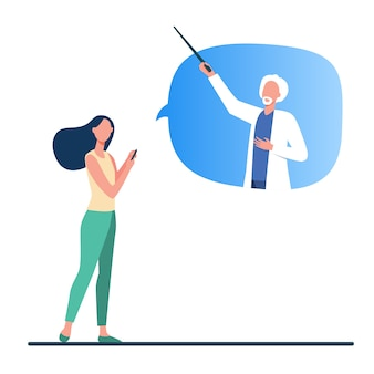 Woman consulting doctor online. patient with phone, senior physician in speech bubble flat vector illustration. internet, medical consultation