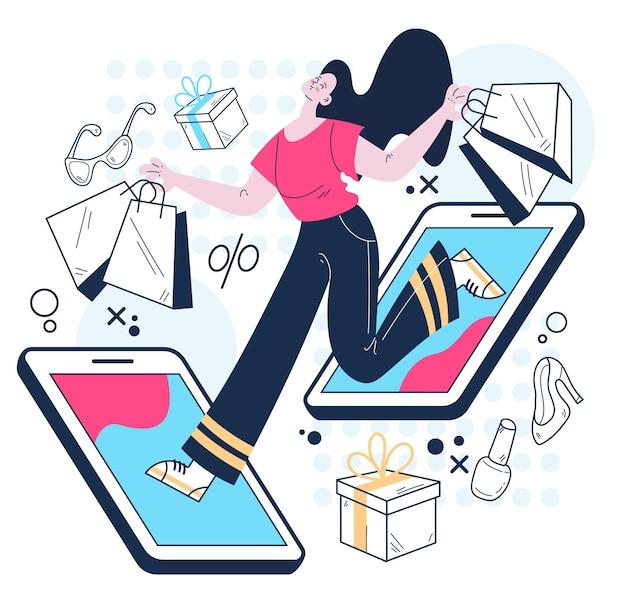 스마트폰 개념으로 온라인 구매를 하는 여성 소비자 캐릭터