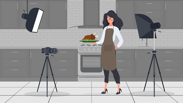 Woman cook in the kitchen keeps leading a culinary vlog.