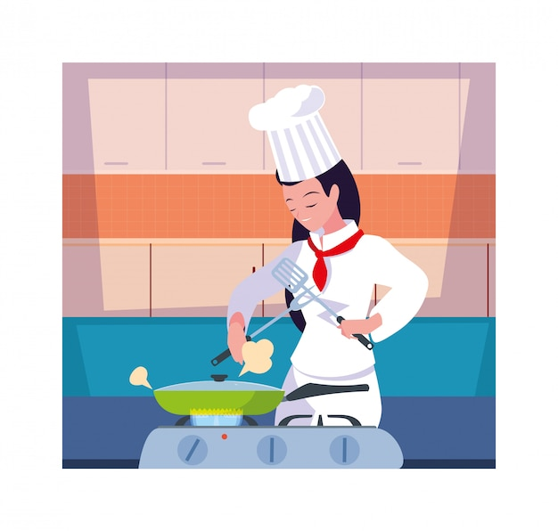 Woman cooking, chef in white uniform