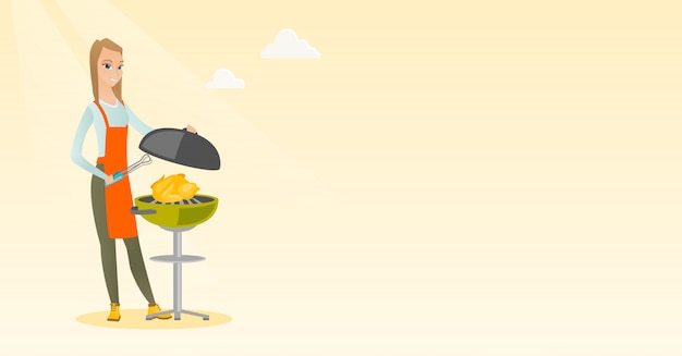 Woman cooking chicken on barbecue grill.