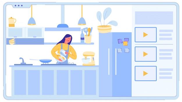 Женщина приготовления пищи в высокотехнологичной современной кухне.