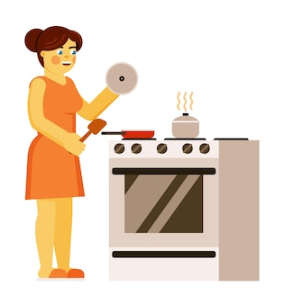 흰색 배경에 고립 된 매일 가정 의무 일상적인 그림을 수행하는 가정 부엌에서 음식을 준비하는 여자 요리