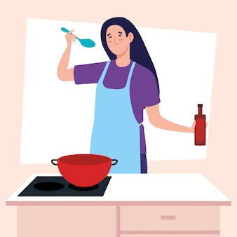 스토브와 앞치마를 사용 하여 요리하는 여자 및 주방 용품