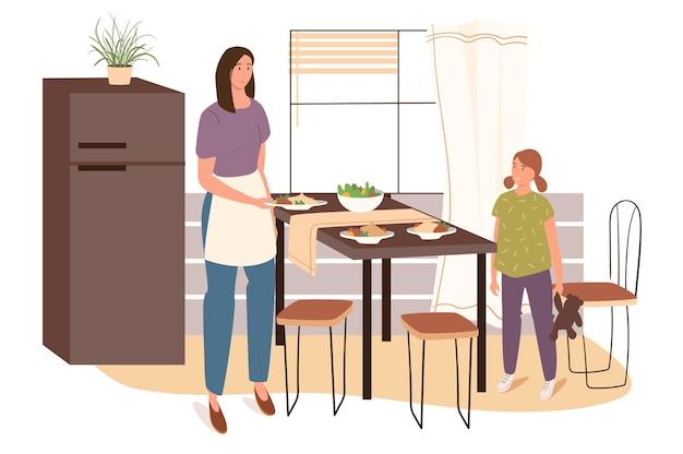 여자는 가정 부엌 웹 개념에서 요리. 앞치마를 입은 엄마가 수제 요리로 테이블을 설정하고 딸이 부엌에서 어머니를 돕습니다.
