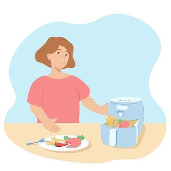 女性はエアフライヤーで料理をします。エアフライヤーは、油を使わずに健康的な食品を作るための器具です。フライドポテト、魚、野菜を使った調理器具のイラスト。