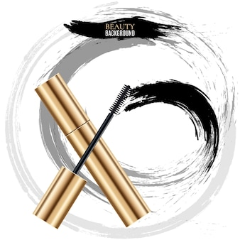 Woman cosmetic brush smears. mascara brush for woman makeup illustration, top view