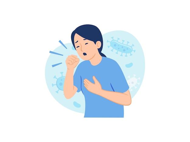 공기 전염병 의료 개념 삽화에서 공기 중 바이러스를 기침하는 여성