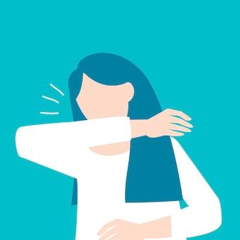 ひじに咳をする女性covid-19意識