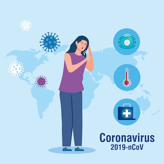 Woman coughing and world map with coronavirus particles