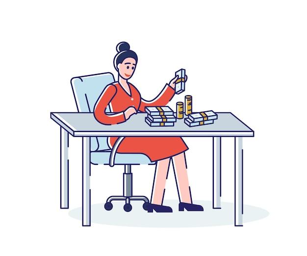 직장에서 사무실 책상에 앉아 지폐와 동전의 돈 더미를 계산하는 여자