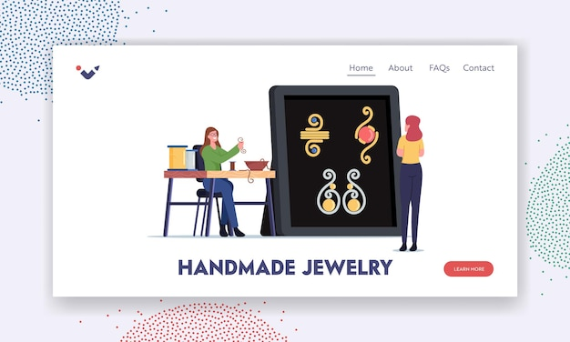 Woman create bijouterie landing page template. female character making jewelry of copper wire string and colorful beads on thread. creative craft, handmade hobby concept. cartoon vector illustration