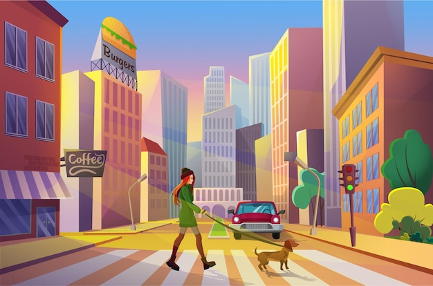 Woman crossing street alone with her pet at sunset in cartoon city with urban skysrapers