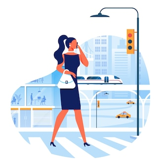 Woman crossing street flat vector illustration