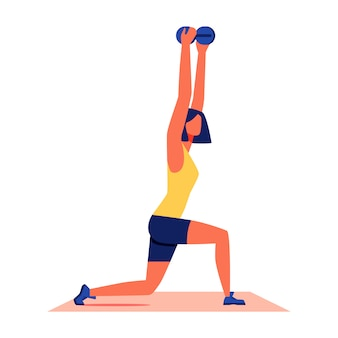 Woman crouches with dumbbells on white background.