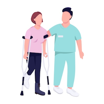 Woman on crutches and doctor  color  faceless character.